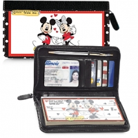 Mickey Loves Minnie Zippered Wallet Checkbook Cover Personal Checks