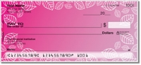Pink Leaf Border Personal Checks