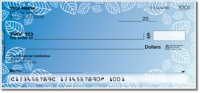 Blue Leaf Border Personal Checks
