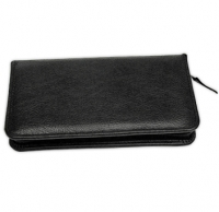 Black Leather Checkbook Cover with Zipper