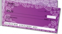 Purple Leaf Border Side Tear Personal Checks