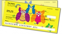 Colorful Owl Side Tear Personal Checks