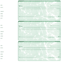 Green Marble Blank 3 Per Page Wallet Checks