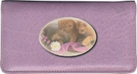 Cute Kittens Leather Side Tear Style Checkbook Cover Accessories