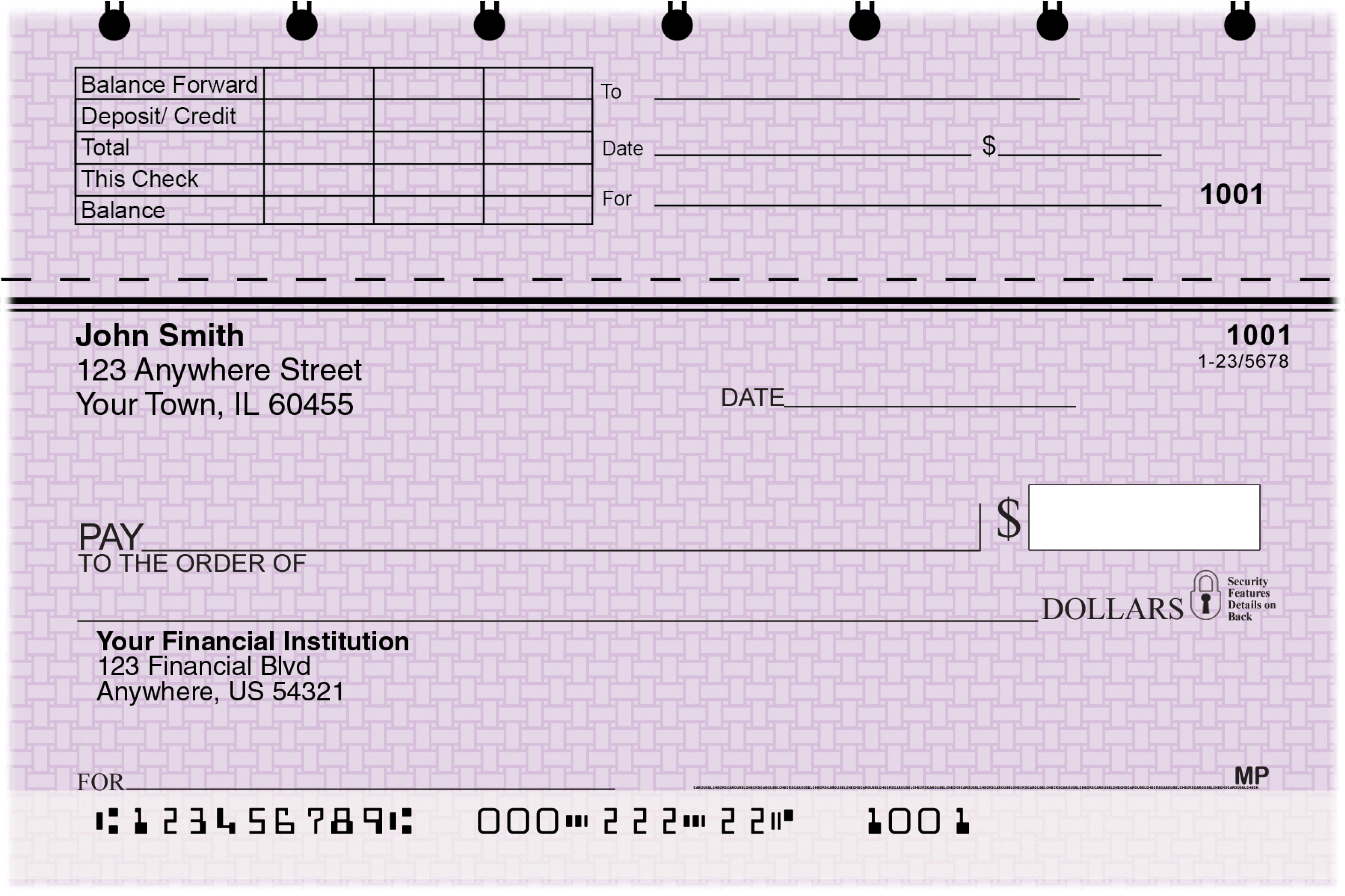 Purple Safety Top Stub Personal Checks