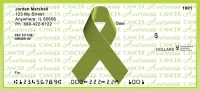 Lime Green Cancer Writing Awareness Ribbon Personal Checks
